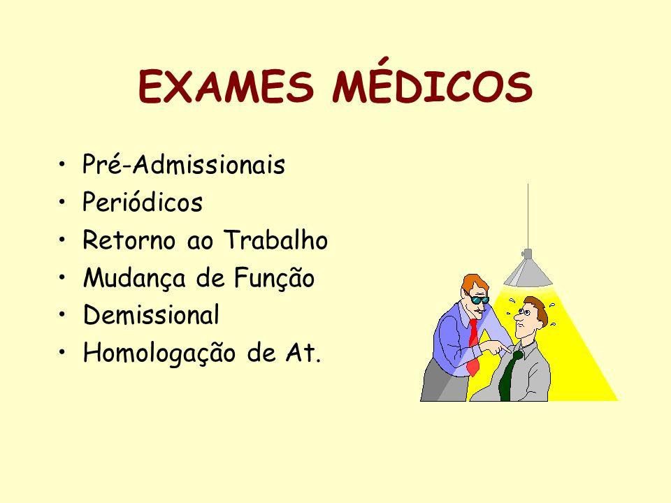 EXAMES MÉDICOS Pré-Admissionais Periódicos Retorno ao Trabalho