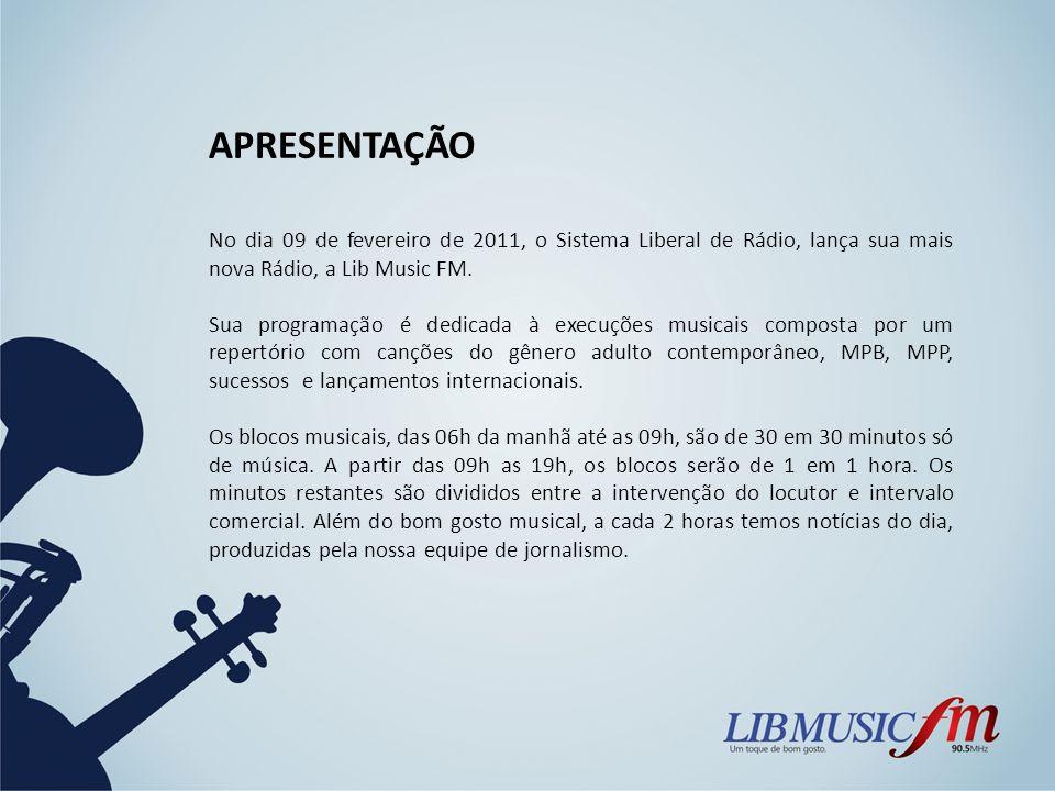APRESENTAÇÃONo dia 09 de fevereiro de 2011, o Sistema Liberal de Rádio, lança sua mais nova Rádio, a Lib Music FM.