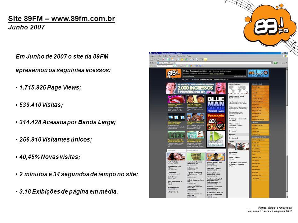 Site 89FM – www.89fm.com.br Junho 2007