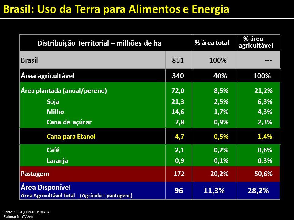 Brasil: Uso da Terra para Alimentos e Energia