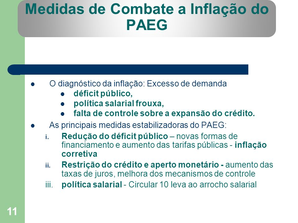 Medidas de Combate a Inflação do PAEG