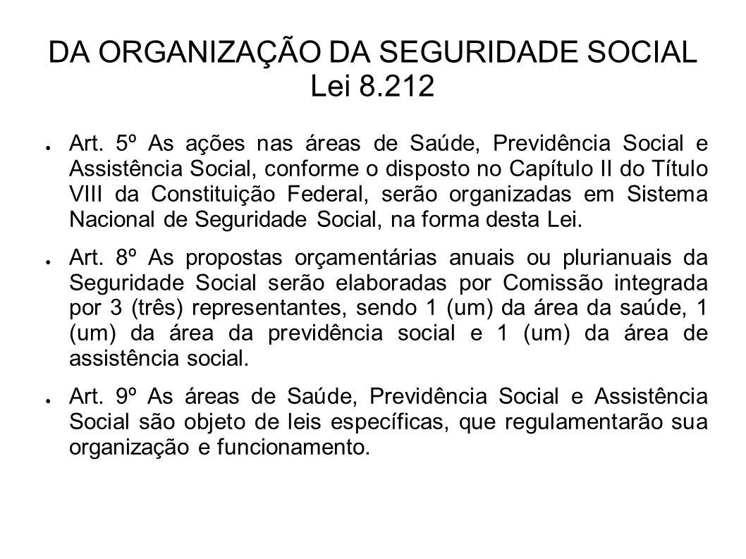 DA ORGANIZAÇÃO DA SEGURIDADE SOCIAL Lei 8.212