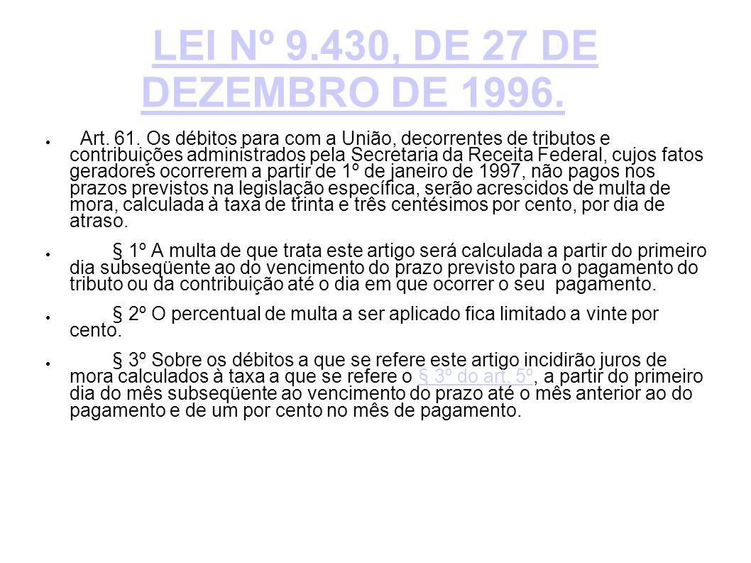 LEI Nº 9.430, DE 27 DE DEZEMBRO DE 1996.
