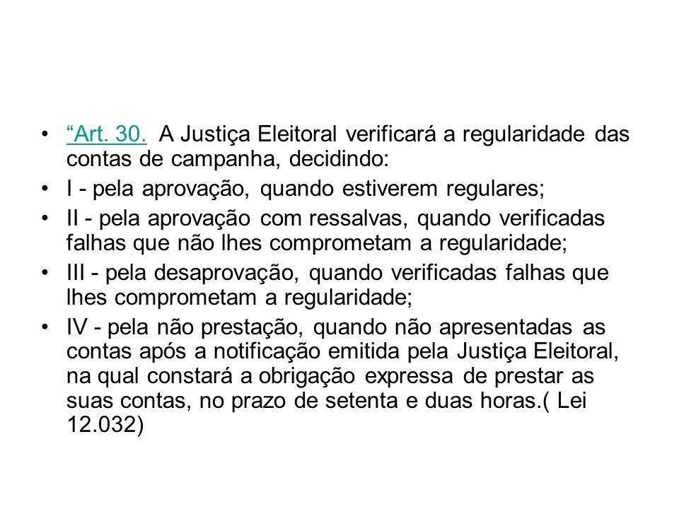 Art. 30. A Justiça Eleitoral verificará a regularidade das contas de campanha, decidindo: