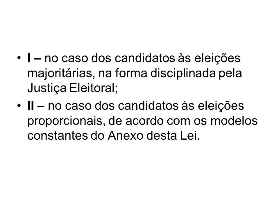 I – no caso dos candidatos às eleições majoritárias, na forma disciplinada pela Justiça Eleitoral;