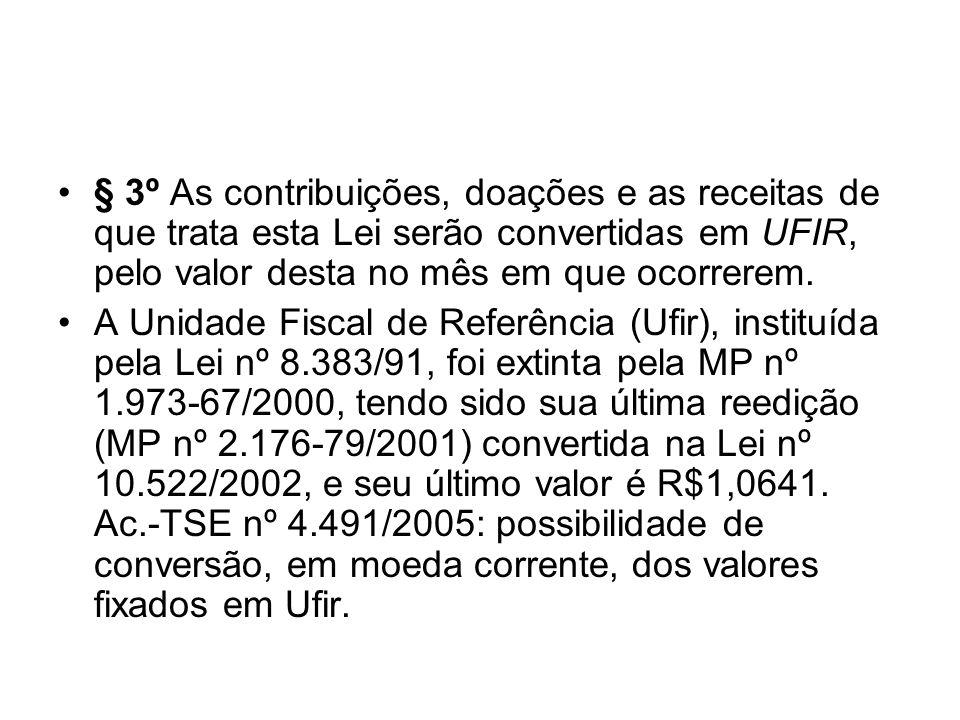 § 3º As contribuições, doações e as receitas de que trata esta Lei serão convertidas em UFIR, pelo valor desta no mês em que ocorrerem.