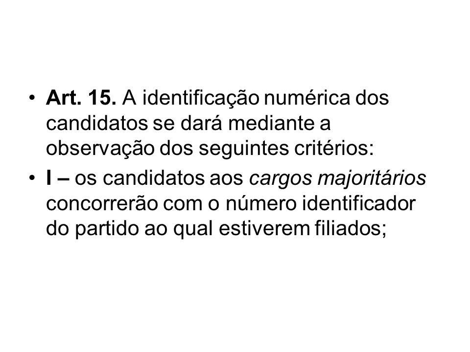 Art. 15. A identificação numérica dos candidatos se dará mediante a observação dos seguintes critérios: