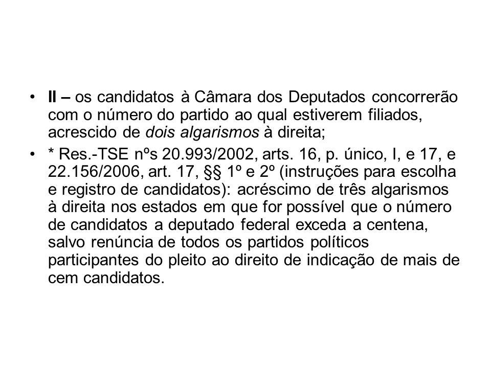 II – os candidatos à Câmara dos Deputados concorrerão com o número do partido ao qual estiverem filiados, acrescido de dois algarismos à direita;