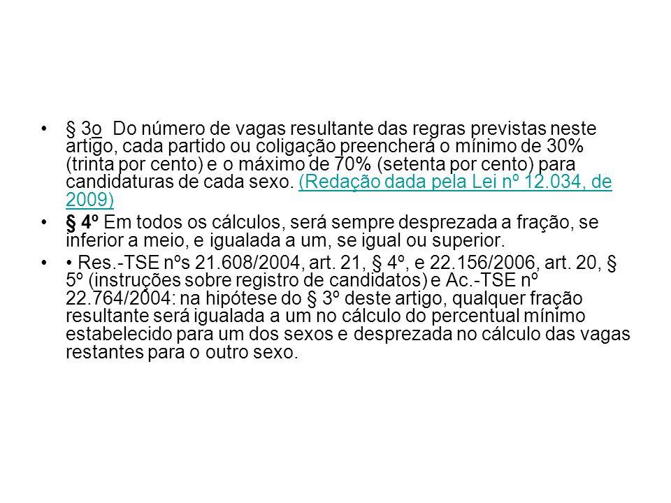 § 3o Do número de vagas resultante das regras previstas neste artigo, cada partido ou coligação preencherá o mínimo de 30% (trinta por cento) e o máximo de 70% (setenta por cento) para candidaturas de cada sexo. (Redação dada pela Lei nº 12.034, de 2009)