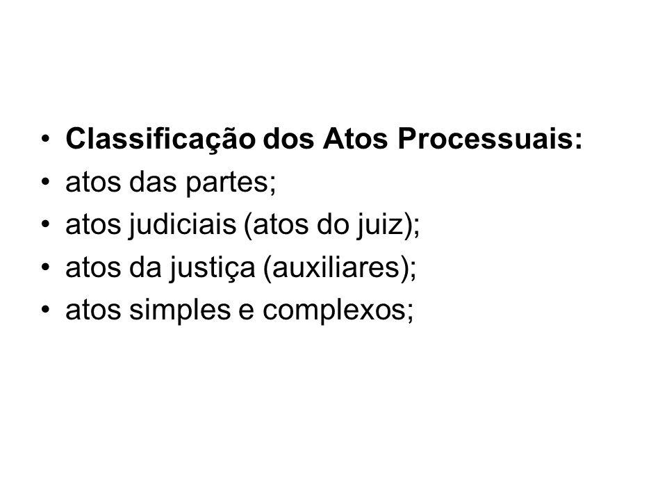 Classificação dos Atos Processuais:
