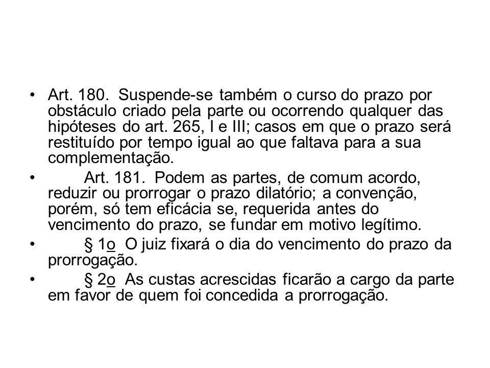 Art. 180. Suspende-se também o curso do prazo por obstáculo criado pela parte ou ocorrendo qualquer das hipóteses do art. 265, I e III; casos em que o prazo será restituído por tempo igual ao que faltava para a sua complementação.
