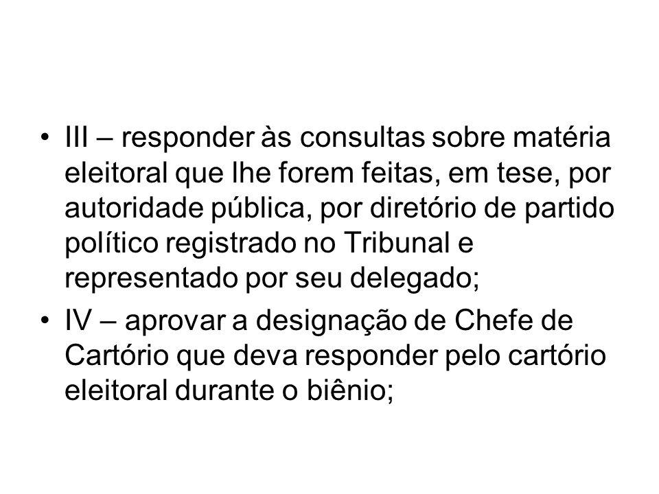 III – responder às consultas sobre matéria eleitoral que lhe forem feitas, em tese, por autoridade pública, por diretório de partido político registrado no Tribunal e representado por seu delegado;