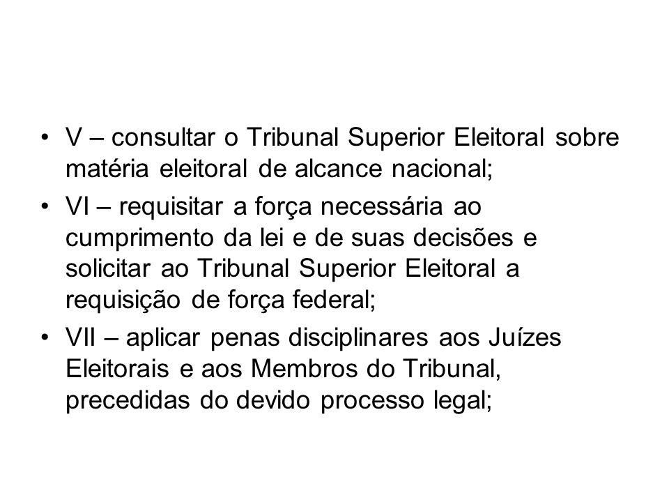 V – consultar o Tribunal Superior Eleitoral sobre matéria eleitoral de alcance nacional;