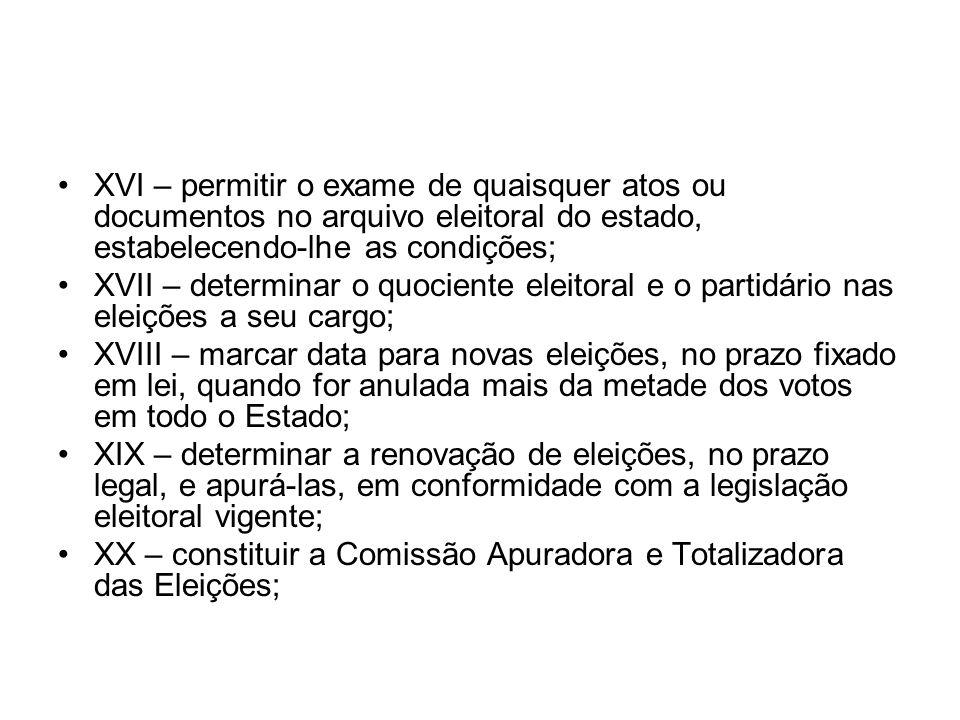 XVI – permitir o exame de quaisquer atos ou documentos no arquivo eleitoral do estado, estabelecendo-lhe as condições;