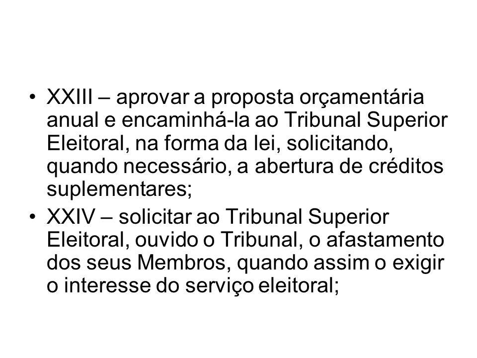 XXIII – aprovar a proposta orçamentária anual e encaminhá-la ao Tribunal Superior Eleitoral, na forma da lei, solicitando, quando necessário, a abertura de créditos suplementares;