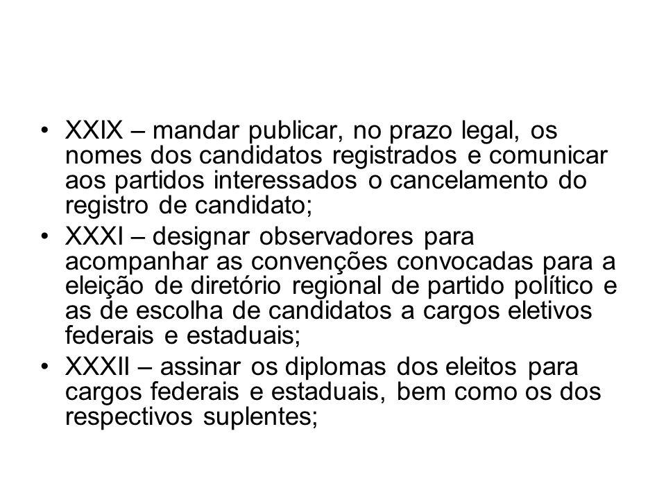 XXIX – mandar publicar, no prazo legal, os nomes dos candidatos registrados e comunicar aos partidos interessados o cancelamento do registro de candidato;