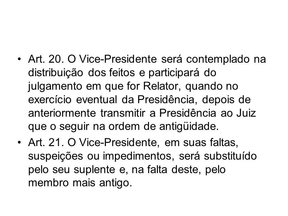 Art. 20. O Vice-Presidente será contemplado na distribuição dos feitos e participará do julgamento em que for Relator, quando no exercício eventual da Presidência, depois de anteriormente transmitir a Presidência ao Juiz que o seguir na ordem de antigüidade.