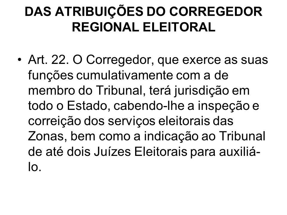 DAS ATRIBUIÇÕES DO CORREGEDOR REGIONAL ELEITORAL