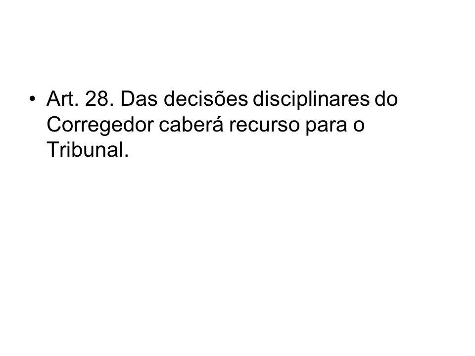 Art. 28. Das decisões disciplinares do Corregedor caberá recurso para o Tribunal.