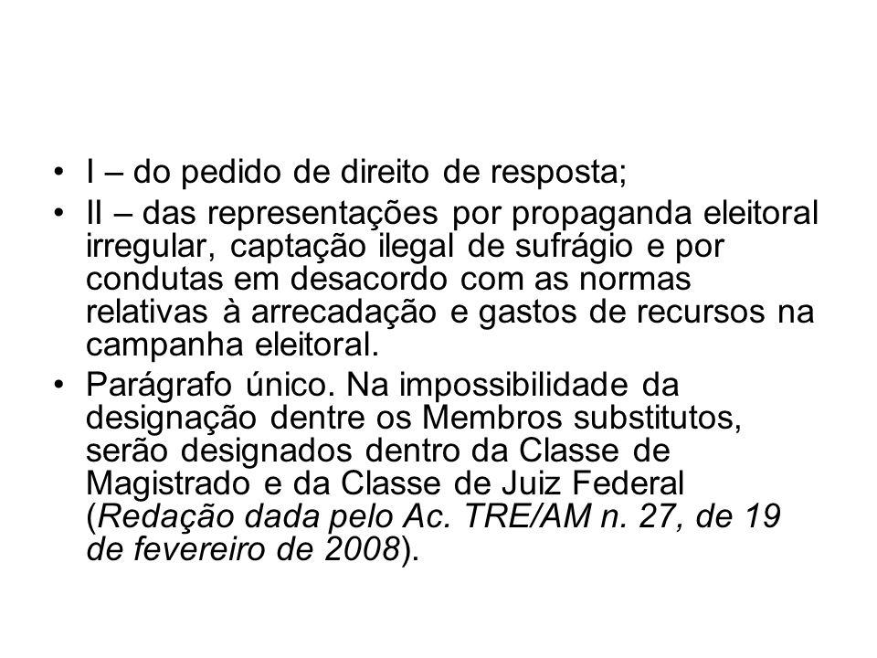 I – do pedido de direito de resposta;