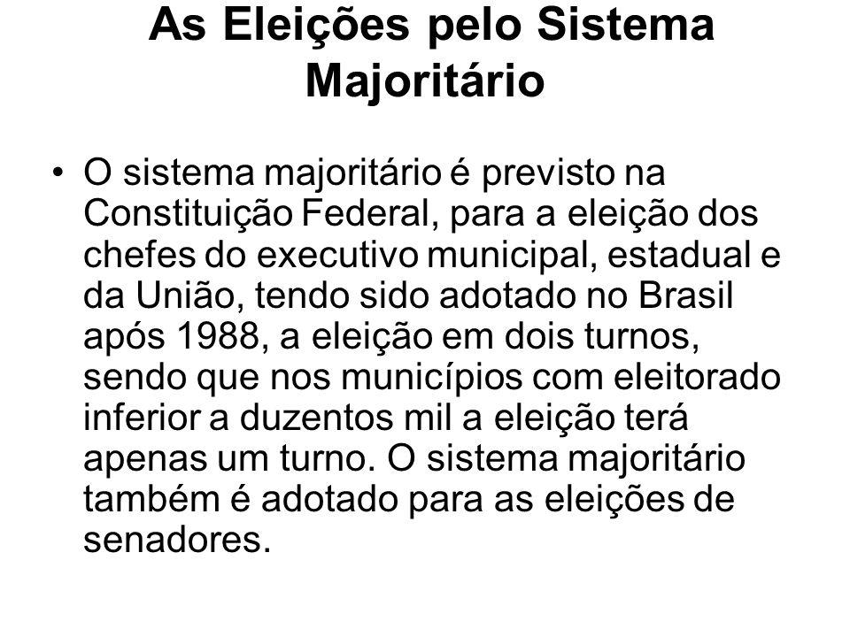 As Eleições pelo Sistema Majoritário