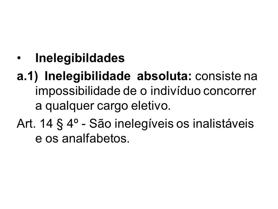Inelegibildades a.1) Inelegibilidade absoluta: consiste na impossibilidade de o indivíduo concorrer a qualquer cargo eletivo.
