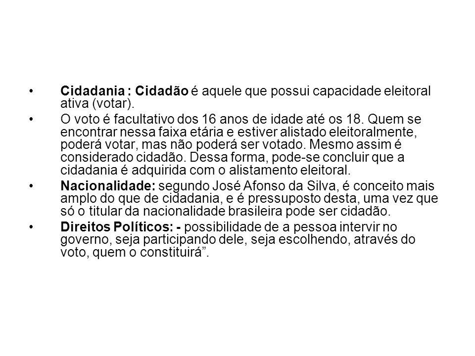 Cidadania : Cidadão é aquele que possui capacidade eleitoral ativa (votar).