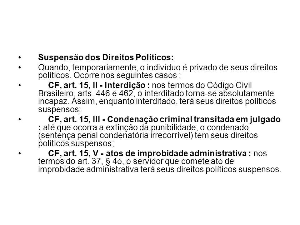 Suspensão dos Direitos Políticos: