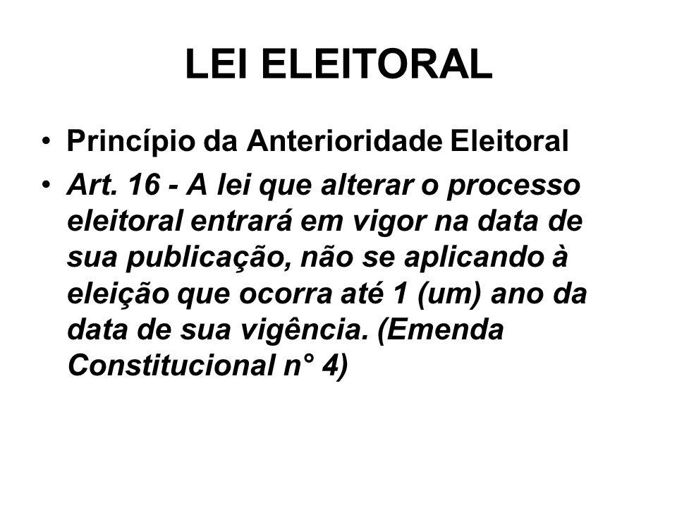 LEI ELEITORAL Princípio da Anterioridade Eleitoral