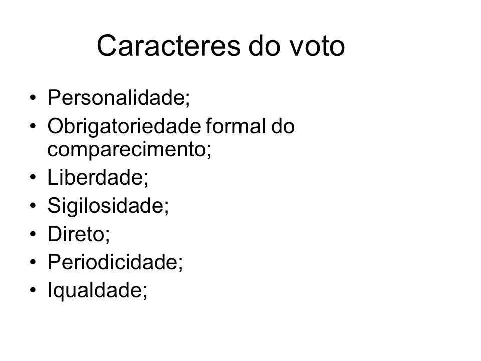 Caracteres do voto Personalidade;