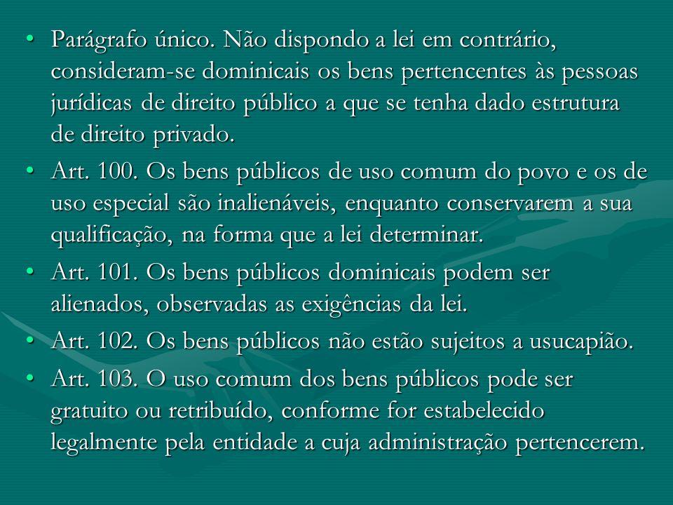 Parágrafo único. Não dispondo a lei em contrário, consideram-se dominicais os bens pertencentes às pessoas jurídicas de direito público a que se tenha dado estrutura de direito privado.