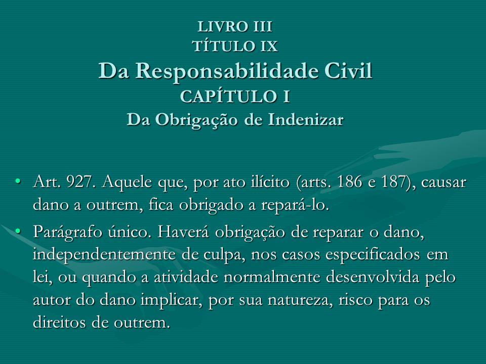 LIVRO III TÍTULO IX Da Responsabilidade Civil CAPÍTULO I Da Obrigação de Indenizar