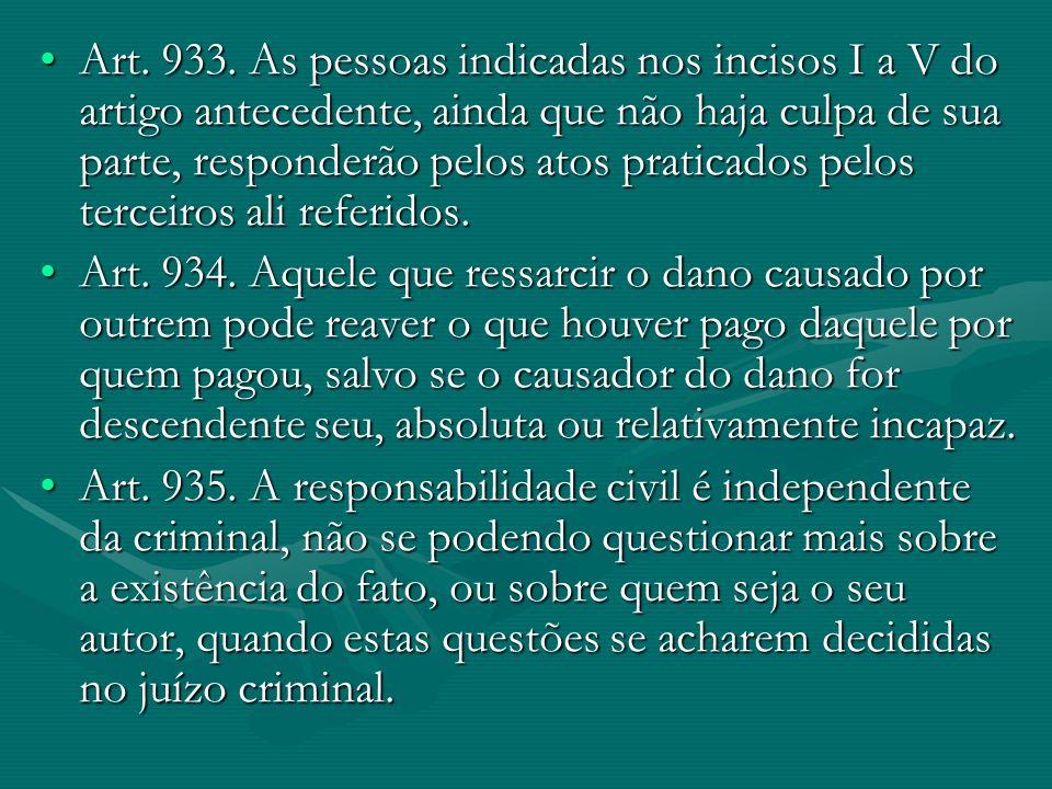 Art. 933. As pessoas indicadas nos incisos I a V do artigo antecedente, ainda que não haja culpa de sua parte, responderão pelos atos praticados pelos terceiros ali referidos.