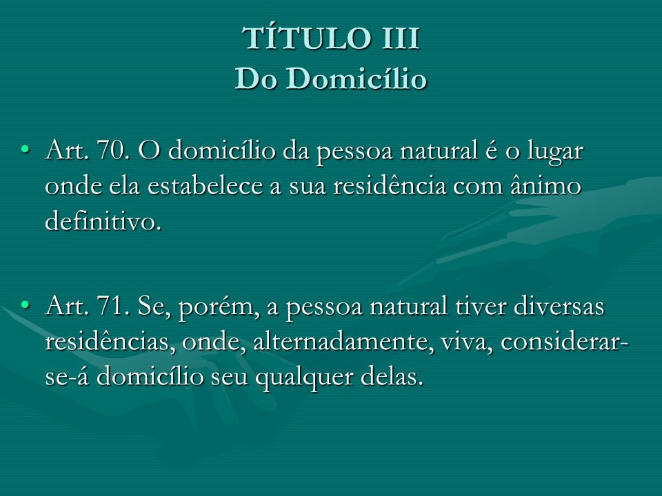 TÍTULO III Do Domicílio