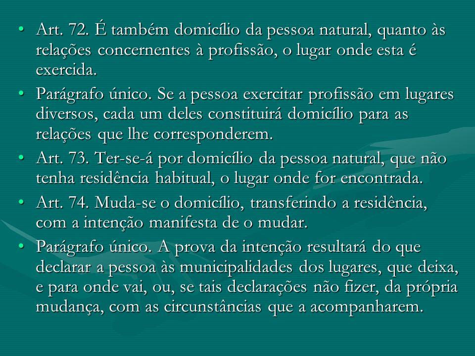 Art. 72. É também domicílio da pessoa natural, quanto às relações concernentes à profissão, o lugar onde esta é exercida.