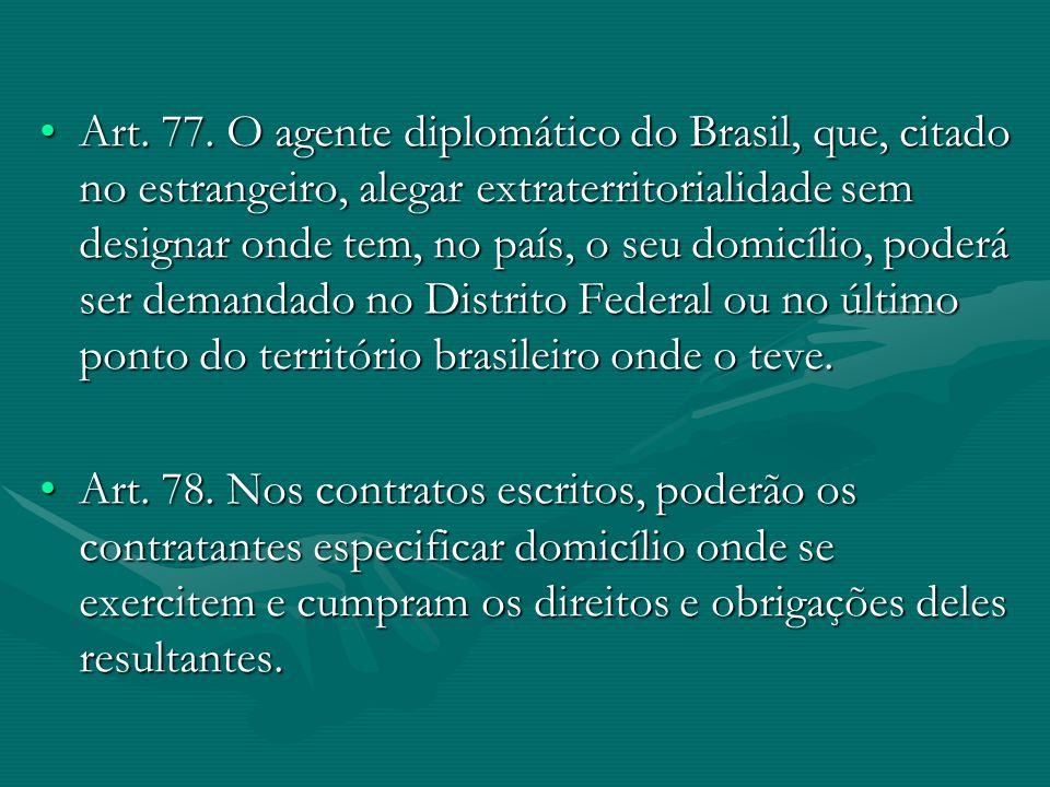 Art. 77. O agente diplomático do Brasil, que, citado no estrangeiro, alegar extraterritorialidade sem designar onde tem, no país, o seu domicílio, poderá ser demandado no Distrito Federal ou no último ponto do território brasileiro onde o teve.