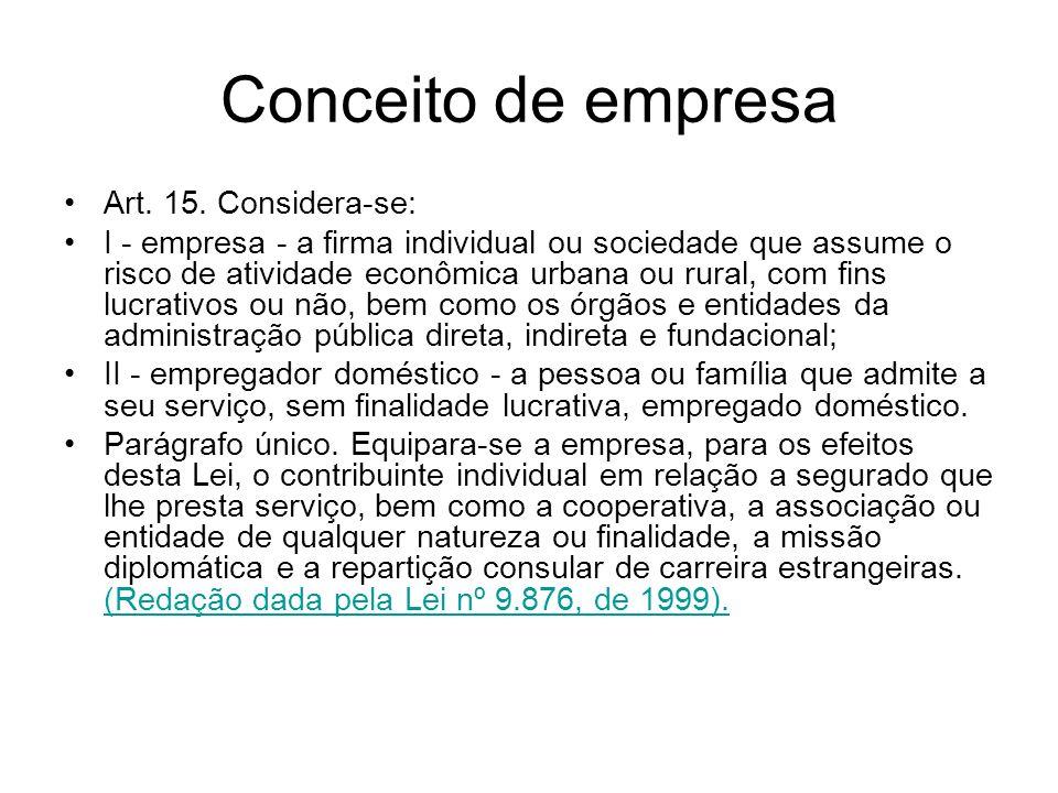 Conceito de empresa Art. 15. Considera-se: