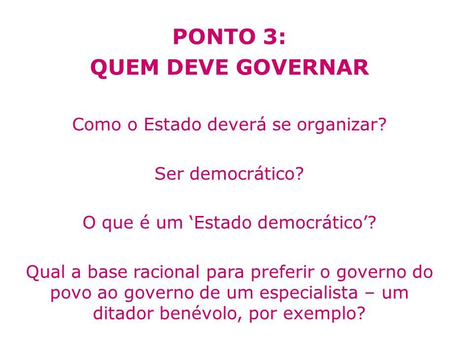 PONTO 3: QUEM DEVE GOVERNAR Como o Estado deverá se organizar