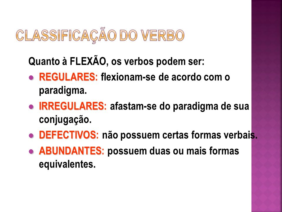 CLASSIFICAÇÃO DO VERBO