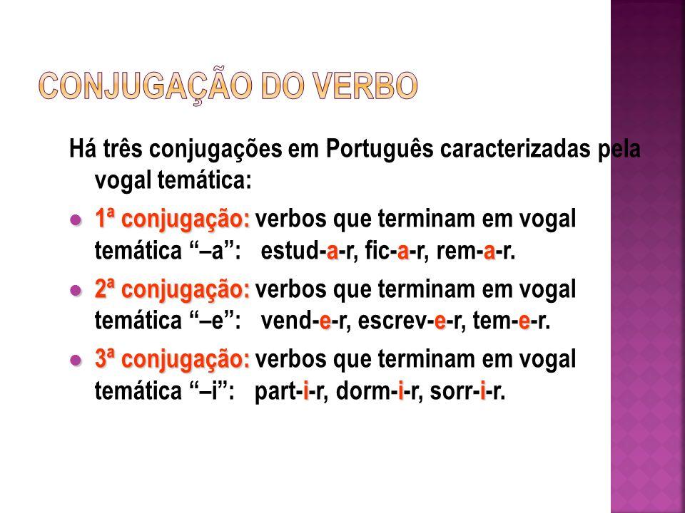 CONJUGAÇÃO DO VERBO Há três conjugações em Português caracterizadas pela vogal temática:
