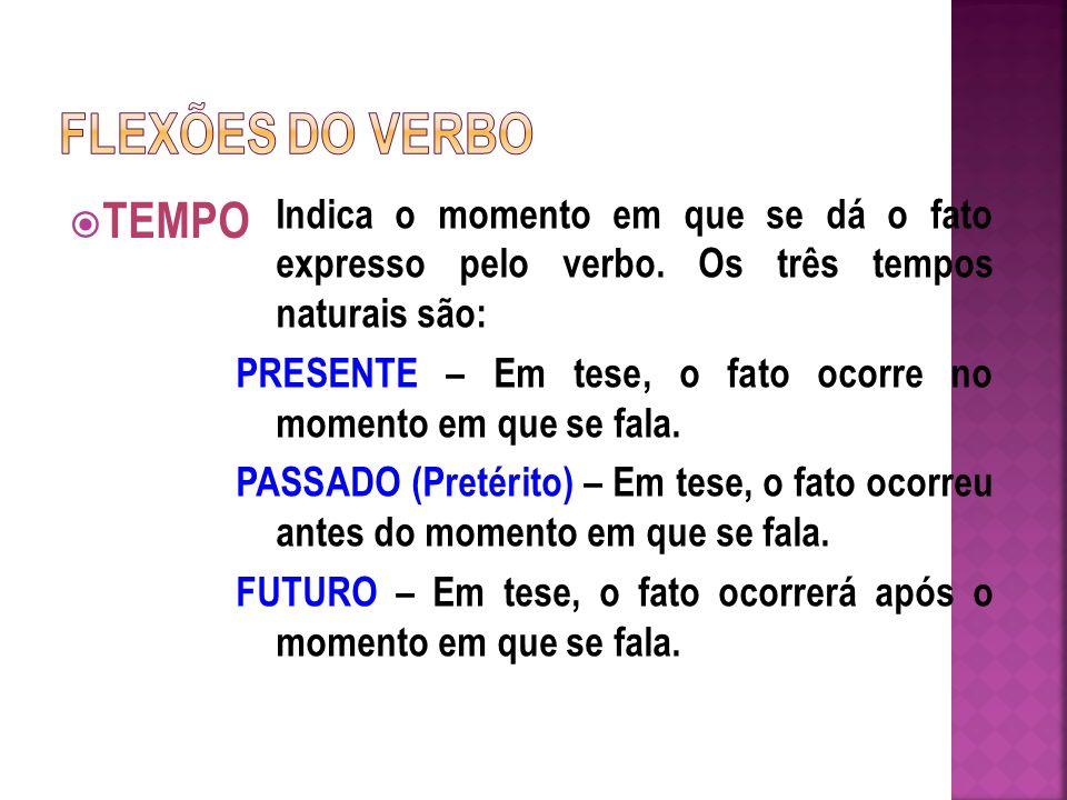 FLEXÕES DO VERBO TEMPO. Indica o momento em que se dá o fato expresso pelo verbo. Os três tempos naturais são: