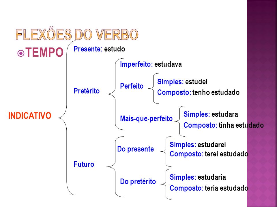 FLEXÕES DO VERBO TEMPO INDICATIVO Presente: estudo