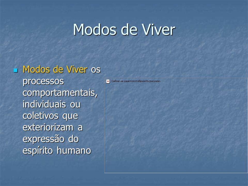 Modos de Viver Modos de Viver os processos comportamentais, individuais ou coletivos que exteriorizam a expressão do espírito humano.