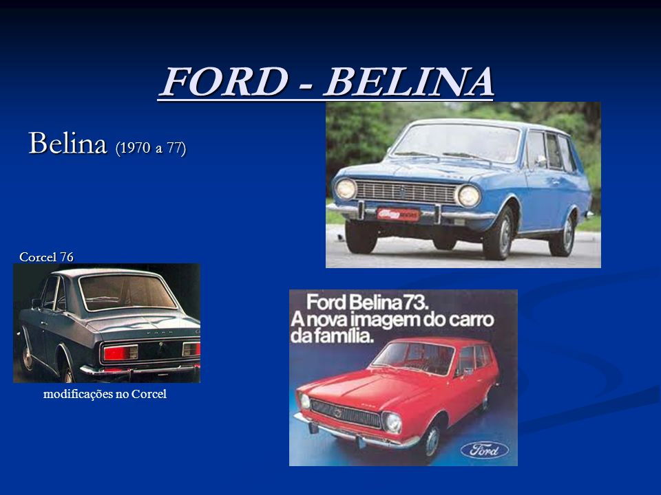 FORD - BELINA Belina (1970 a 77) Corcel 76 modificações no Corcel