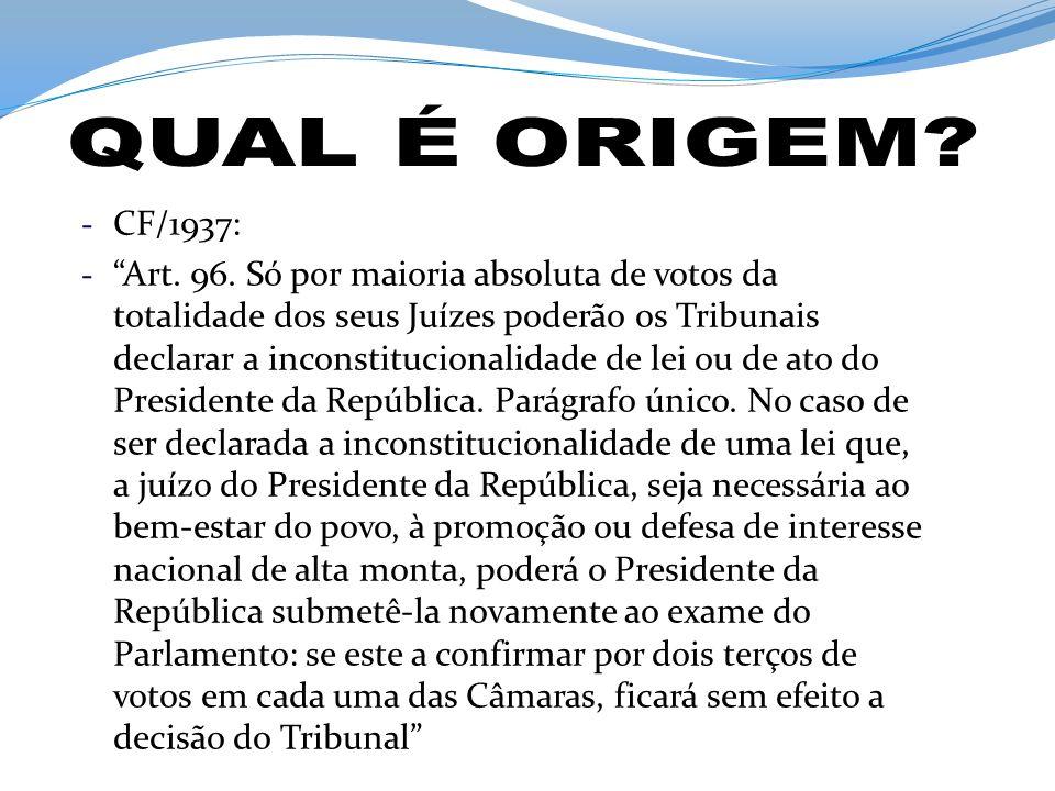 QUAL É ORIGEM CF/1937: