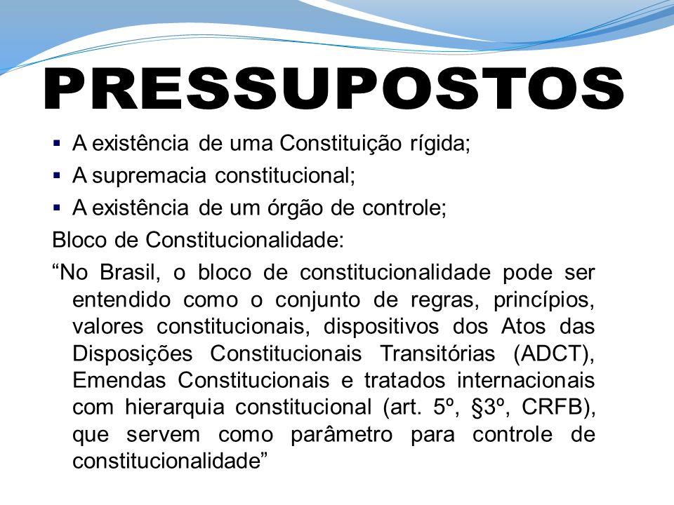 PRESSUPOSTOS A existência de uma Constituição rígida;