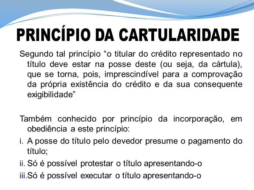 PRINCÍPIO DA CARTULARIDADE