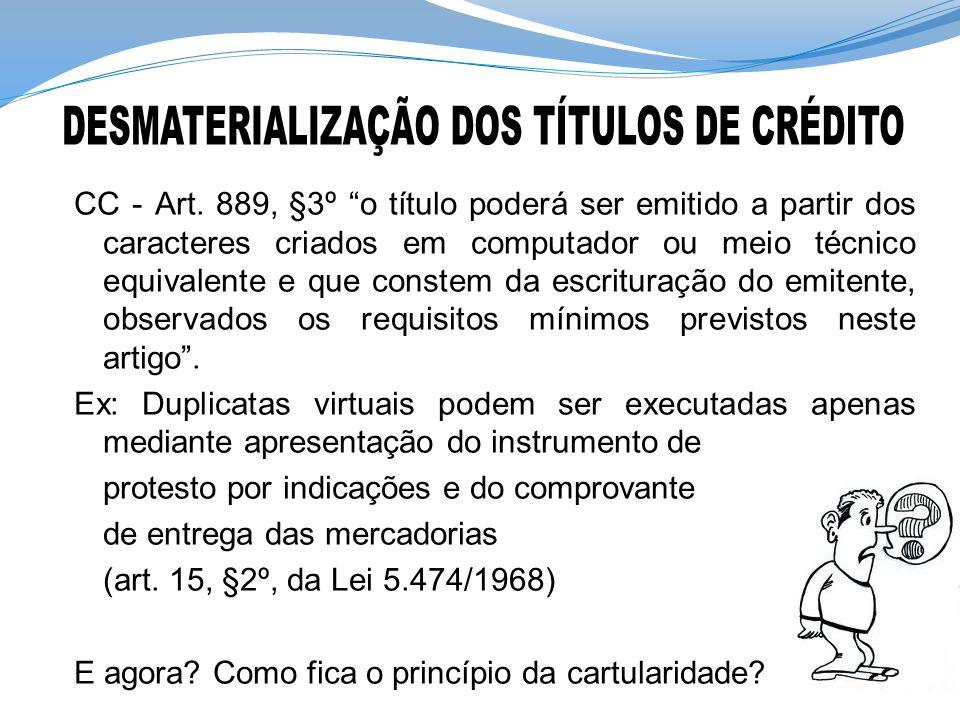 DESMATERIALIZAÇÃO DOS TÍTULOS DE CRÉDITO