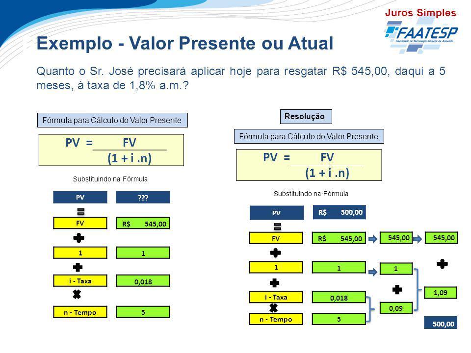 Exemplo - Valor Presente ou Atual