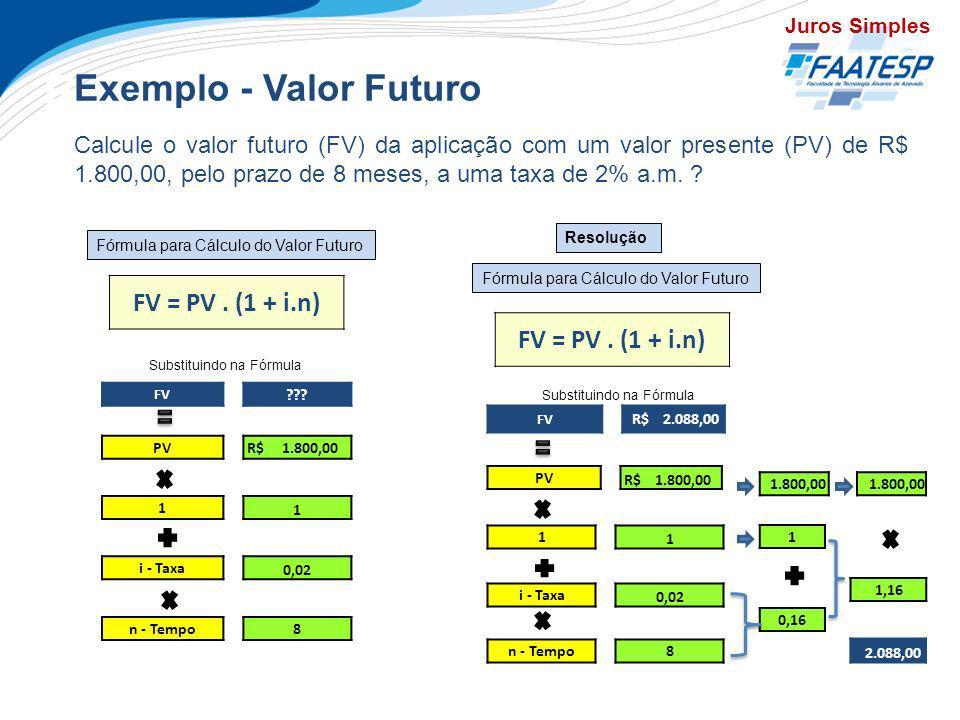 Exercícios Exemplo - Valor Futuro FV = PV . (1 + i.n)